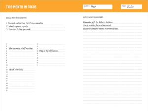 Productivity planner book - month section
