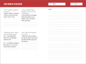 Productivity planner book - Month in review section